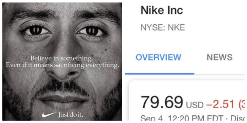 Nike Stock Prices Drop After Kaepernick Ad Controversy