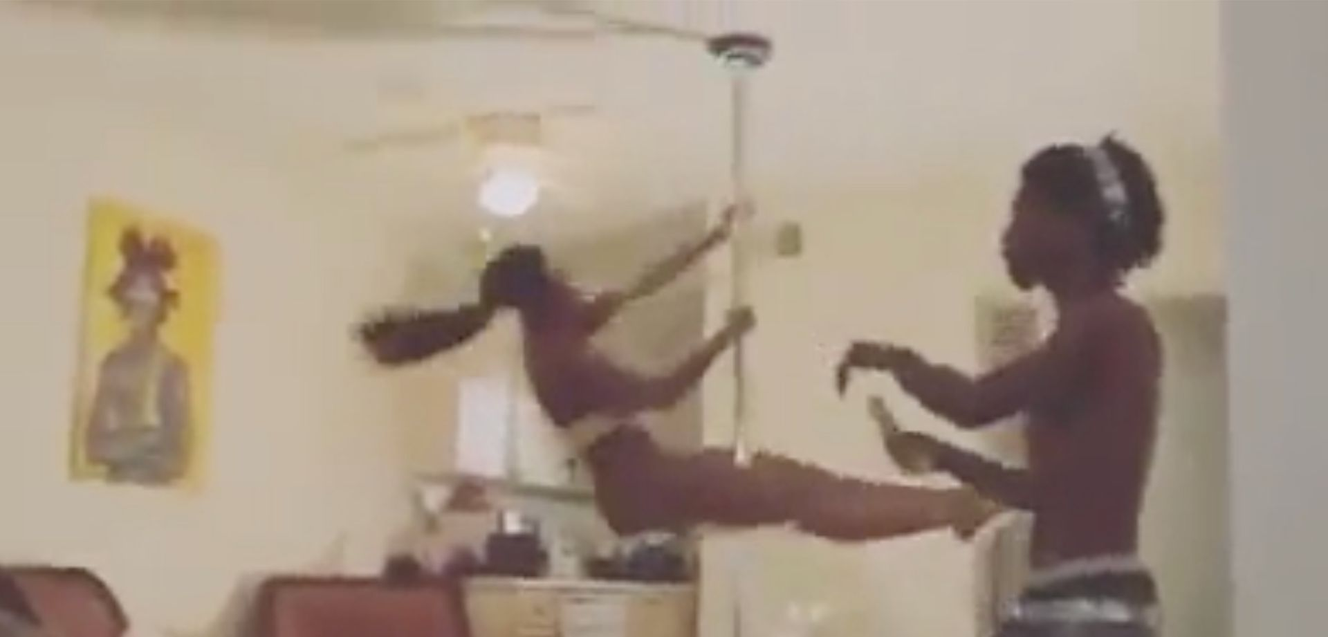 Girl FALLS OFF Stripper Pole During