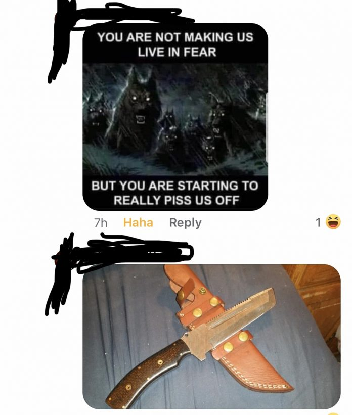 A picture of a knife, used as a death threat